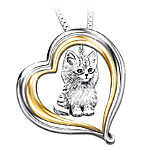 Purr-fect Companion Heart Shaped Keepsake Cat Pendant Necklace