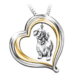 Dachshund Heart-Shaped Pendant Necklace