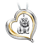Shih Tzu Engraved Heart-Shaped Pendant Necklace
