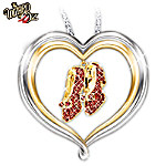 "It won't be long until you're off to see The Wizard with this stunning Dorothy's ruby slippers heart-shaped pendant necklace. Follow the yellow brick road to your heart's desires and enjoy a timeless classic with a dream-come-true Wizard of Oz jewelry creation available only from The Bradford Exchange. Beautifully handcrafted in solid sterling silver with rich accents of 24K gold plating, this fine jewelry design captures the beloved movie with the iconic image of Dorothy's ruby slippers. Decorated with glittering, red Swarovski® crystals, turn over this Dorothy's ruby slippers heart-shaped pendant necklace and you'll find the sweet engraving, ""There's No Place Like Home."" Hurry to own this Wizard of Oz jewelry gift for yourself or give to anyone who has ever dreamed of being over the rainbow. Strong demand is expected. Order now! California Residents click here for Proposition 65 notice. This is fine jewelry intended only for adults."