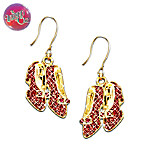 Wizard Of Oz Over The Rainbow Dorothy's Ruby Slippers Pierced Earrings