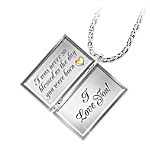 Dear Daughter Letter Of Love Engraved Diamond Locket Necklace