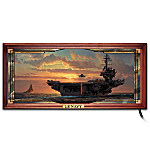 Silhouetted against a fiery sky, the massive ships of the US Navy are on patrol, defended by sailors always at the ready. Experience the dawn of freedom through the reflective splendor of stained glass with this dramatic US Navy wall decor, available exclusively from The Bradford Exchange. This collectible US Navy portrait of might and freedom's promise comes to life with an illuminated stained glass panorama that lights up from within. Impressively sized at nearly 2' wide, the artwork features long-lasting lights built into the handsome custom frame. This collectible stained glass art arrives fully assembled and ready to display. A truly unique collectible Navy gift for you or someone special. The edition is strictly limited and demand may be intense. Order now.