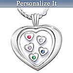 Mothers Loving Heart Sterling Silver Heart-Shaped Birthstone Pendant