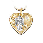 Heart Shaped Guardian Angel Diamond Locket Pendant Necklace