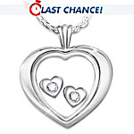 Always & Forever Heart Shaped Sterling Silver Diamond Pendant Necklace Gift For Her