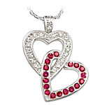Always In My Heart Engraved Diamond And Ruby Heart Pendant Romantic Jewelry Gift