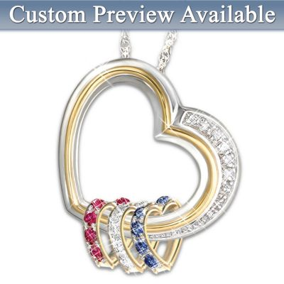 Forever In A Mother's Heart Personalized Heart-Shaped Birthstone Pendant Gift