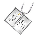 Always & Forever, I Love You Engraved Letter Locket Diamond Necklace: Romantic Jewelry Gift Romantic Anniversary Gifts