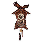 Timeless Majesty Collectible Cuckoo Clock With Bald Eagle Art