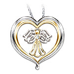 My Dear Granddaughter Heart-Shaped Angel Pendant Necklace: Jewelry Gift For Granddaughter