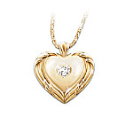 Guardian Angel Diamond Heart-Shaped Pendant Necklace