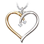 Gifts for Daughters Heart-Shaped Diamond Pendant Necklace: My Darling Daughter