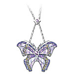 Era Of Louis Tiffany Style Shimmering Wings Amethyst Butterfly Necklace