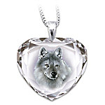 Silver Scout Cut Crystal Pendant Necklace With Wolf Art