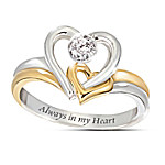 Always In My Heart Engraved Heart-Shaped Diamond Ring: Romantic Jewelry Gift For Her