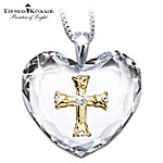 Thomas Kinkade Serenity Prayer Crystal Heart Pendant Necklace