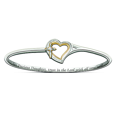Daughter Engraved Sterling Silver-Plated Bracelet: My Precious Daughter Faith And Love