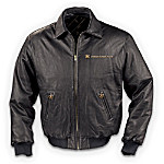U.S. Navy Men's Leather Bomber Jacket: United States Navy Gift
