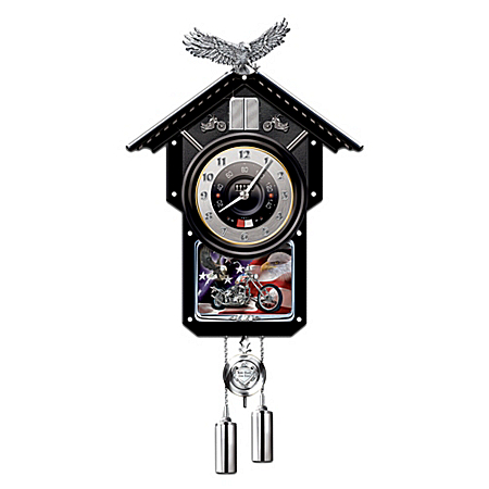 Motorcycle-Themed Collectible Wooden Cuckoo Clock: Time Of Freedom