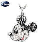 Disney Mickey Mouse Classic Sterling Silver Crystal Pendant Necklace: Disney Jewelry Gift