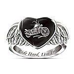 Ride Hard, Live Free Engraved Sterling Silver Ladies Motorcycle Ring: Jewelry Gift For Her