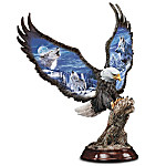 Moonlight Majesty Collectible Bald Eagle Sculpture With Wolf Art