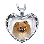 Pomeranian Crystal Heart Pendant Necklace