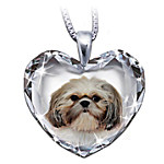 Shih Tzu Crystal Heart Pendant Necklace