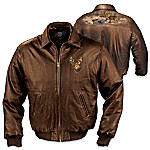 Wildlife Art Men's Leather Jacket: The Northwoods Legends