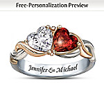 Valentines Gifts Two Hearts, One Love Heart-Shaped Personalized Ring: Romantic Jewelry Gift