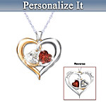 Personalized Pendant With Genuine Garnet And White Topaz Personalized Valentine's Day Gift