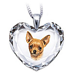 Chihuahua Crystal Heart Pendant Necklace