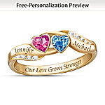 Personalized Birthstone Couples Ring: Love's Journey