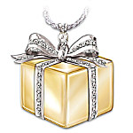 Sterling Silver And Diamond Gift Box Pendant Necklace: Gift Of Love