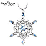 Thomas Kinkade Sterling Silver Sparkling Snowflake Pendant Necklace: Jewelry Gift For Her
