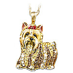 Best In Show Dog Lovers Yorkie Crystal Pendant Necklace