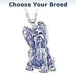 Dog Breed Crystal And Diamond Pendant Necklace
