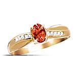 Blazing Brilliance Fire Opal And Diamond Ring