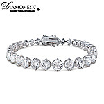 Brilliance Eternity Sterling Silver Diamonesk Bracelet: Jewelry Gift For Her