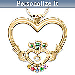 An Irish Mothers Love Personalized Diamond And Birthstone Pendant Necklace