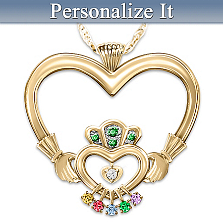 An Irish Mother's Love Personalized Diamond And Birthstone Pendant Necklace