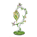 Garden Treasures Hummingbird Feeder Glass Art Figurine