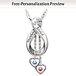 Personalized Engraved Diamond And Birthstone Pendant Necklace: Love Never Ends