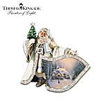 Thomas Kinkade Victorian Christmas Santa Claus Crystal Pin