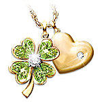 Good Luck Diamond And Peridot Four Leaf Clover Pendant Necklace