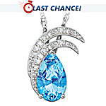 Christian Riese Lassen Blue Topaz And Crystal Pendant Necklace: Moonlit Splendor