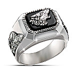 Wolf Decor Men's Wolf Art Ring: The Call Of The Wild