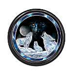 Illuminated Wolf-Themed Crystalline Sculpture Wall Decor: Rising Spirit