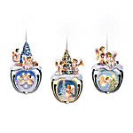 Christmas Blessings Jingle Bell Angel Ornaments Set One: Set Of Three